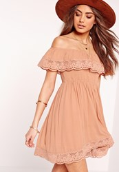 Missguided Crochet Trim Crinkle Bardot Dress Nude Beige