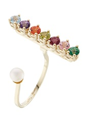 Delfina Delettrez 9Kt Gold Cockatil Ring With Topaz Peridot And Pearl Multicolor