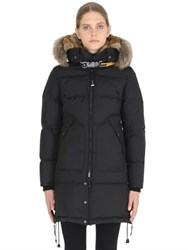 Parajumpers Long Bear Nylon Down Parka With Fur