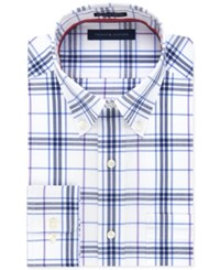 Tommy Hilfiger Men's Big And Tall Blue Pearl Exploded Plaid Dress Shirt