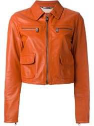 Dolce And Gabbana Leather Zip Jacket Yellow And Orange