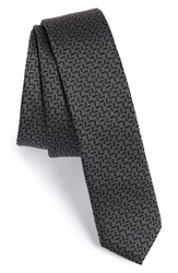 The Kooples Geometric Silk Tie Grey