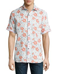 Robert Graham Canna Floral Print Linen Short Sleeve Shirt Multi
