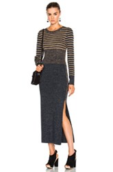 See By Chloe Sweater Dress In Gray Yellow Stripes Gray Yellow Stripes