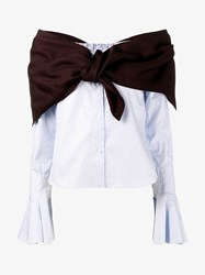 Jacquemus Off Shoulder Stripe Shirt With Tie Detail White Brown Stone