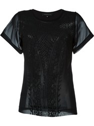 Barbara Bui Lace Pattern Semi Sheer T Shirt Black