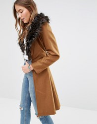 Brave Soul Wool Mix Longline Coat With Oversized Faux Fur Collar Tan