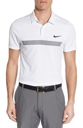 Nike Men's 'Fly Sphere' Dri Fit Golf Polo White Reflect Black