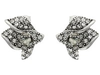 Oscar De La Renta Gradient Crystal Flower Button P Earrings Black Diamond