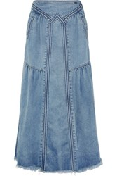 Chloe Frayed Denim Maxi Skirt Light Denim
