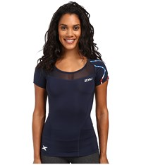 2Xu Compression S S Top Navy Stars 'N Stripes Women's Short Sleeve Pullover