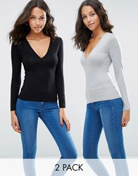 Asos Plunge Neck Top With Long Sleeves 2 Pack Black Grey Multi