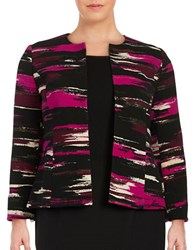 Nipon Boutique Plus Metallic Infused Printed Open Jacket Raisin