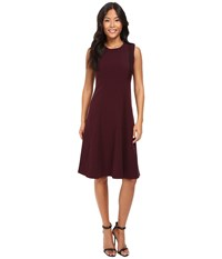 Ellen Tracy Lace Inset Soft Flare Dress Fig Women's Dress Brown