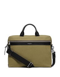 Michael Kors Grant Medium Canvas Briefcase Moss