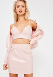 Missguided Galore Pink Patent Faux Leather Bralet