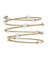 Alor Pearl Spiral Cable Wrap Bangle Yellow