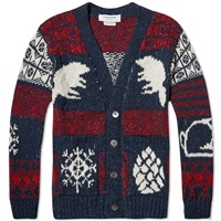 Thom Browne Donegal Icon Fair Isle Cardigan Navy Mix
