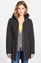 Women's Betsey Johnson Soft Shell Jacket With Detachable Hood Black