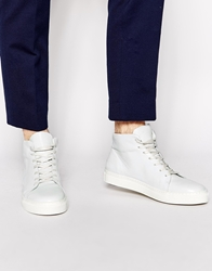 Selected Homme Darvin Leather Hi Top Trainers White