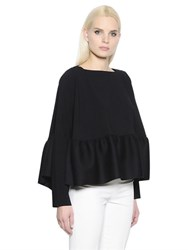 Antonio Berardi Ruffled Light Sable Wool Top