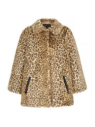 Mela Loves London Leopard Print Faux Fur Jacket Brown