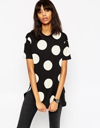 Asos Oversized Spot Tunic With Side Splits Black