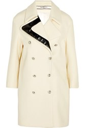 Bouchra Jarrar Faux Patent Leather Trimmed Wool Coat Cream