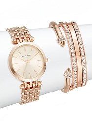 Adrienne Vittadini Glitz Rose Goldtone Bracelet Watch Set