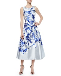 Kay Unger New York Satin Floral Tea Length Cocktail Dress Gray Blue