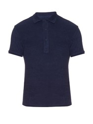 Orlebar Brown Sebastian French Terry Towelling Polo Shirt Navy