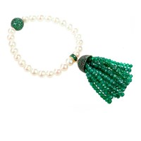 Latelita London Tassel Pearl Bracelet Green Onyx Gold Green