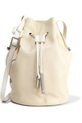 Halston Lizard Effect Leather Bucket Bag White