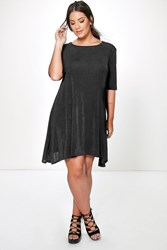 Boohoo Cassie Shimmer Swing Dress Black