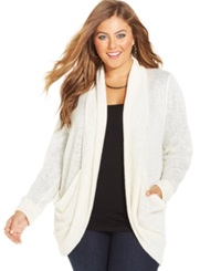Eyeshadow Plus Size Open Front Cardigan Brulee