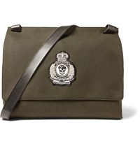 Alexander Mcqueen Patch Embellished Canvas Messenger Bag Green