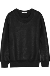Iro Logan Coated Cotton Blend Terry Sweatshirt Black