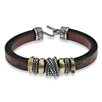 Platadepalo Resin Bronze And Leather Bracelet Brown