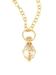 Temple St. Clair Classic Diamond Rock Crystal And 8K Yellow Gold Amulet Pendant