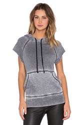 Iro . Jeans Lacee Short Sleeve Hooded Sweatshirt Gray