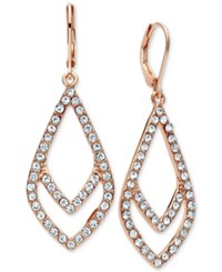 Anne Klein Crystal Pave Geometric Drop Earrings Rose Gold