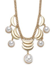 Design Lab Lord And Taylor Faux Pearl Accented Scalloped Bib Necklace Gold