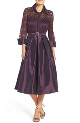 Eliza J Women's Mixed Lace And Taffeta Fit And Flare Dress Plum