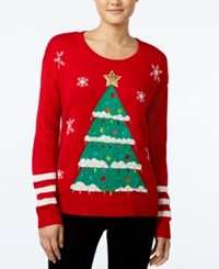 Hooked Up By Iot Juniors' Tree Light Holiday Sweater Christmas Red