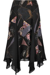 Elizabeth And James Reza Asymmetric Printed Silk Chiffon Skirt Black