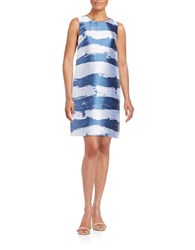 Helene Berman Painterly Stripe Shift Dress Blue White