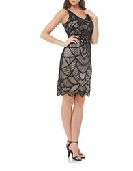 Js Collections Art Deco Beaded Tank Dress Black Nude
