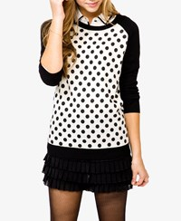 Forever 21 Polka Dot Baseball Sweater