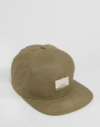 Asos Snapback Cap In Mushroom Nubuck With Metal Badge Mushroom Green