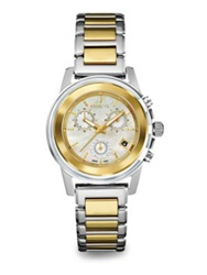Breil Milano Orchestra Mother Of Pearl And Two Tone Stainless Steel Chronograph Bracelet Watch Gold Silver